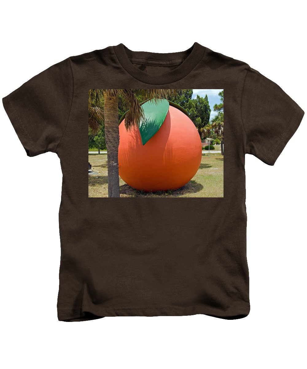 Florida; Travel; Kitsch; Giant; Big; Orange; Restroom; Rest; Room; Bathroom; Bath; Melbourne; Touris Kids T-Shirt featuring the photograph Big Orange At Melbourne On The East Coast Of Florida by Allan Hughes