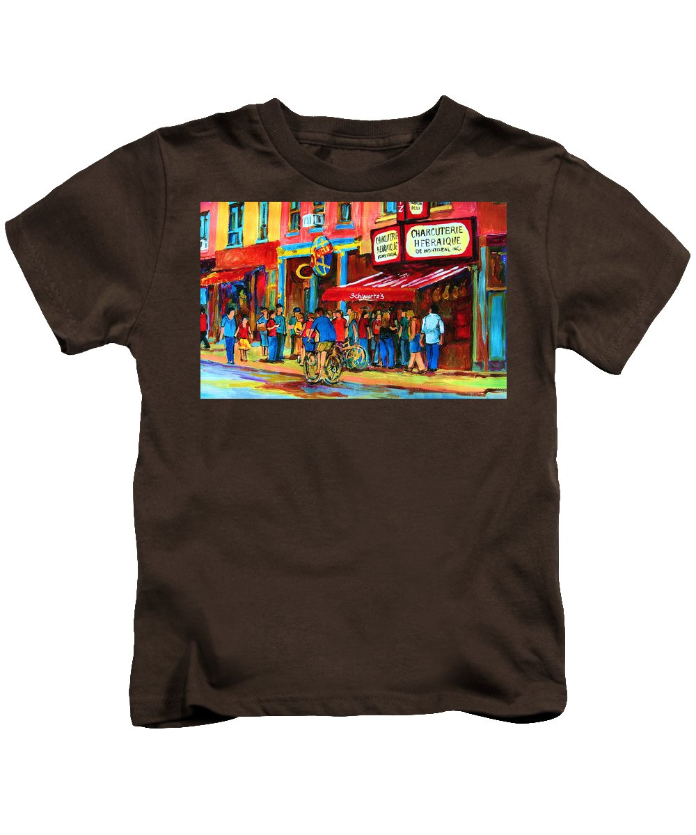 Schwartzs Smoked Meat Deli Kids T-Shirt featuring the painting Biking Past The Deli by Carole Spandau