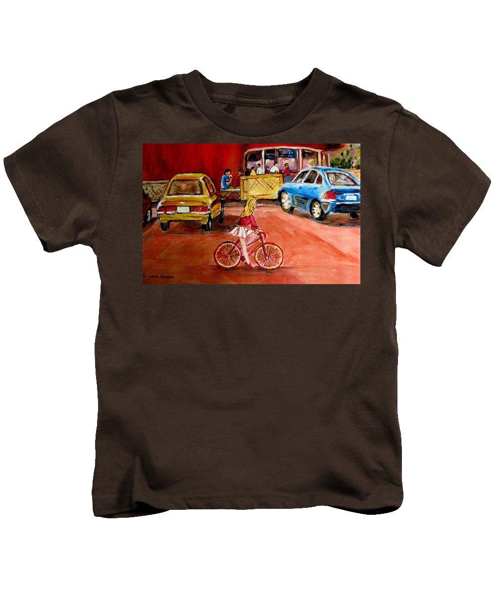 Orange Julep Kids T-Shirt featuring the painting Biking To The Orange Julep by Carole Spandau