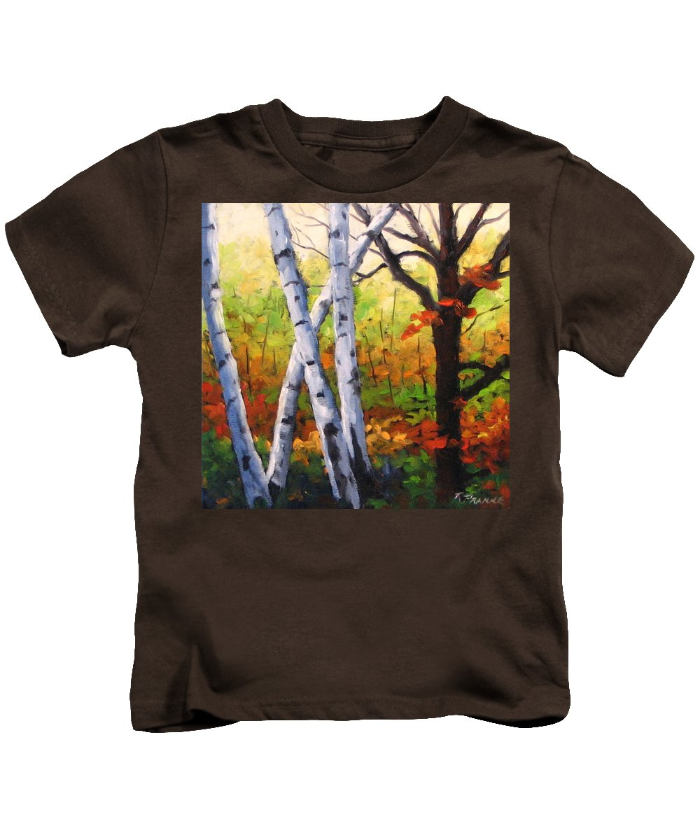 Art Kids T-Shirt featuring the painting Birches 05 by Richard T Pranke