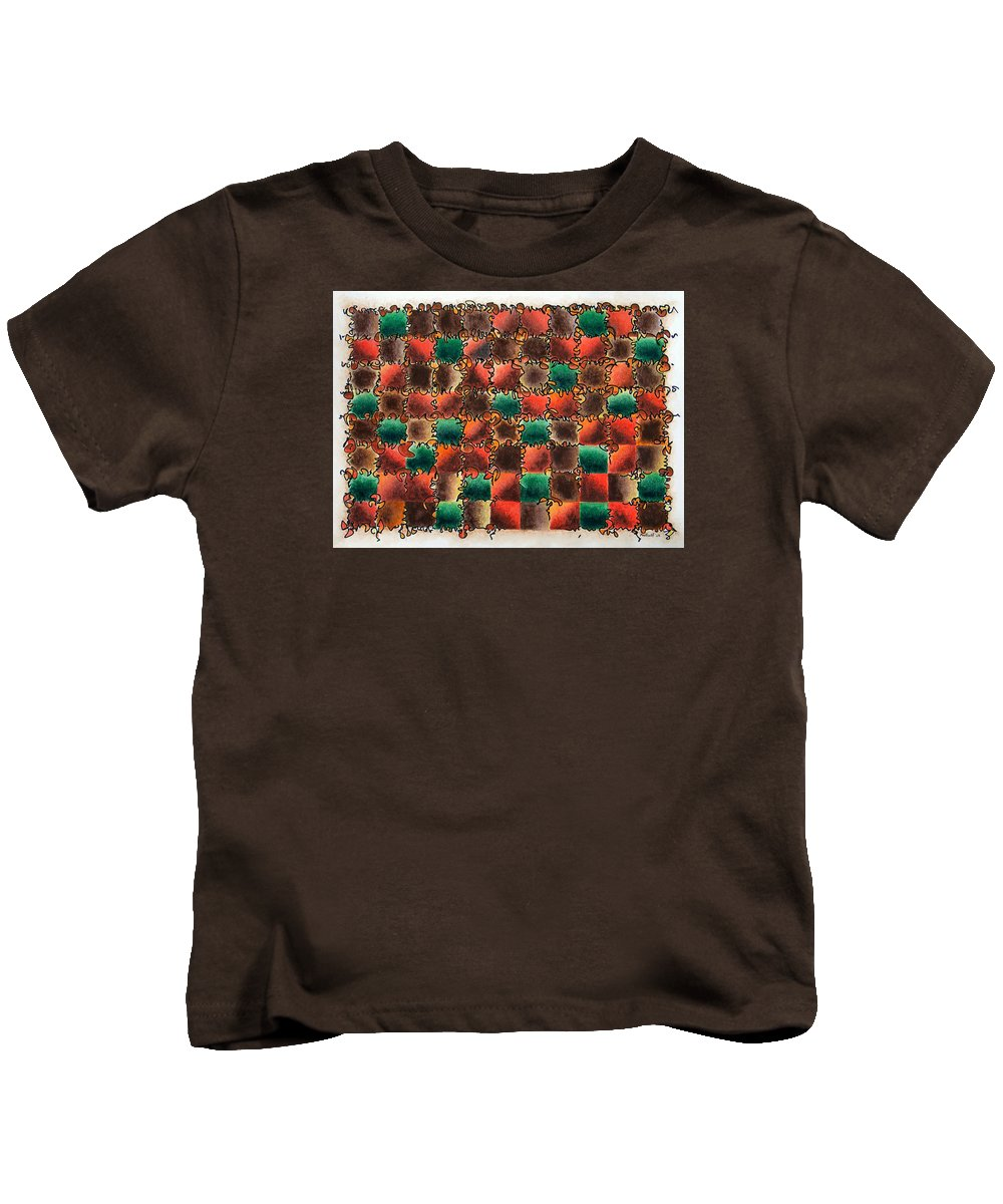 Abstract Kids T-Shirt featuring the painting Black Forest Cake by Dave Martsolf