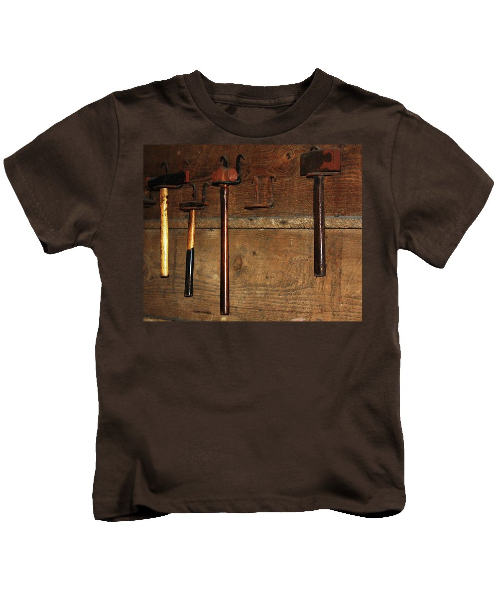Blacksmith Photographs Kids T-Shirt featuring the photograph Blacksmith Tools by Kim Henderson
