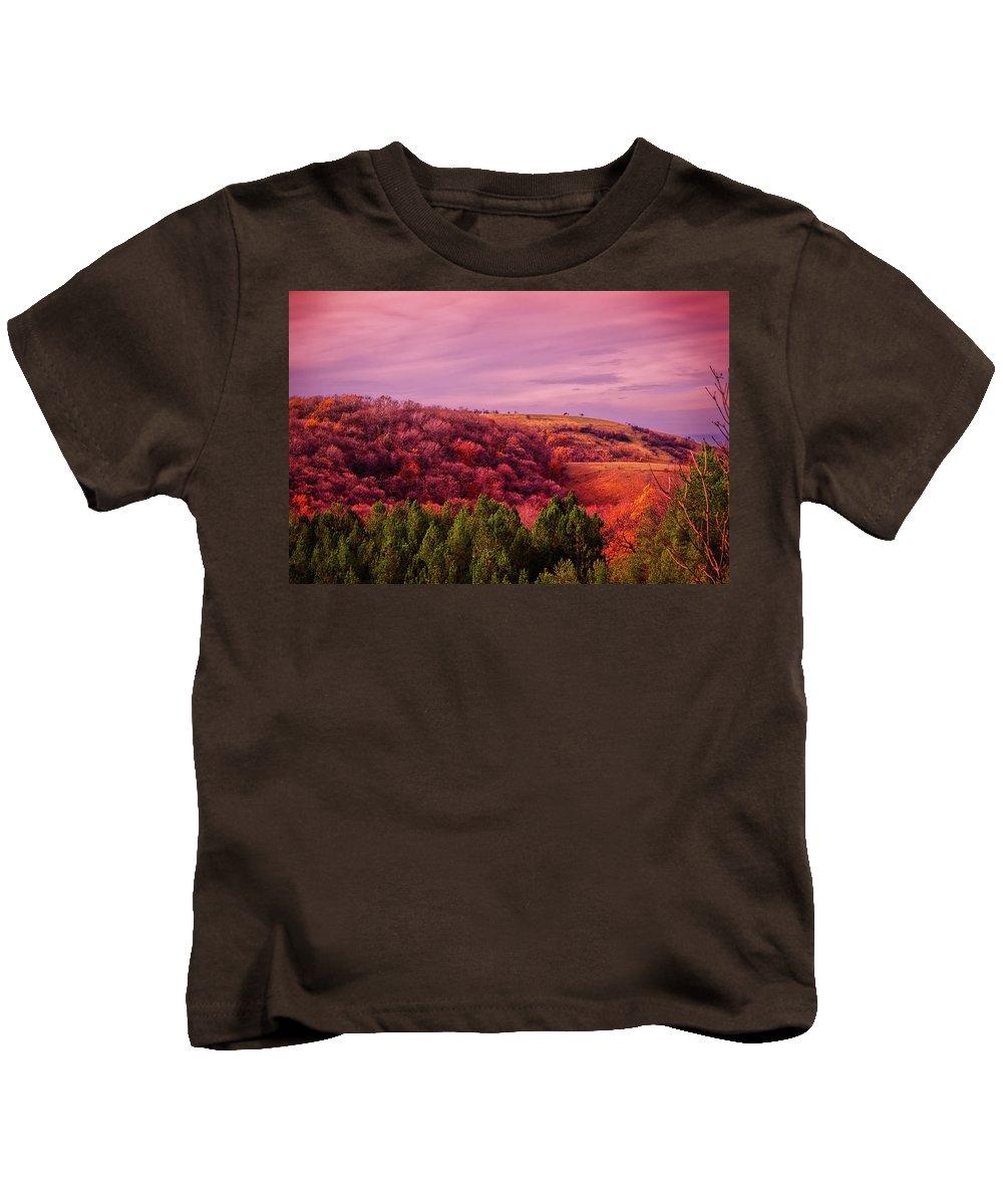 Serbian Kids T-Shirt featuring the photograph Blazing Autumn by Goran Vucicevic