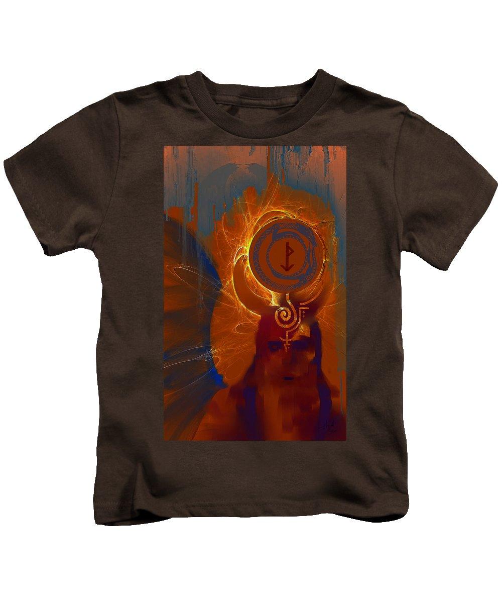 Spiritual Kids T-Shirt featuring the digital art Blazzing Wisdom Through Odins Essence by Stephen Lucas