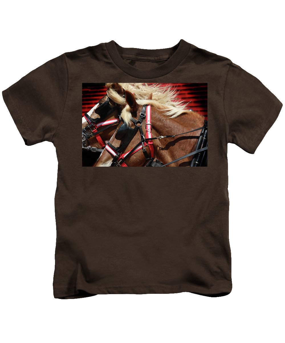 Western Art Kids T-Shirt featuring the photograph Blinders On by Kim Henderson