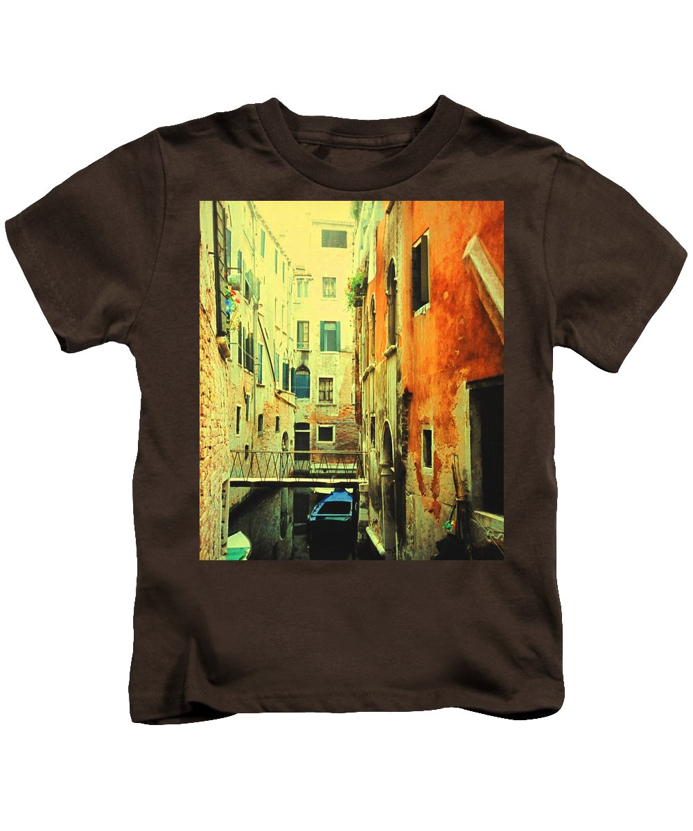 Venice Kids T-Shirt featuring the photograph Blue Boat In Venice by Ian MacDonald