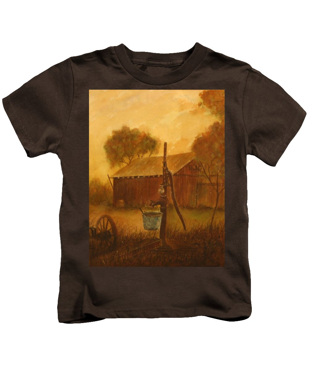 Barn; Bucket; Country Kids T-Shirt featuring the painting Blue Bucket by Ben Kiger