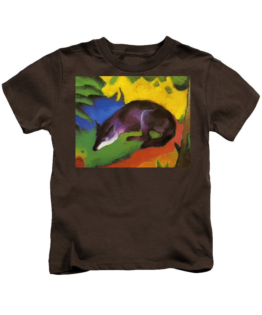 Blue Kids T-Shirt featuring the painting Blue Fox 1911 by Marc Franz