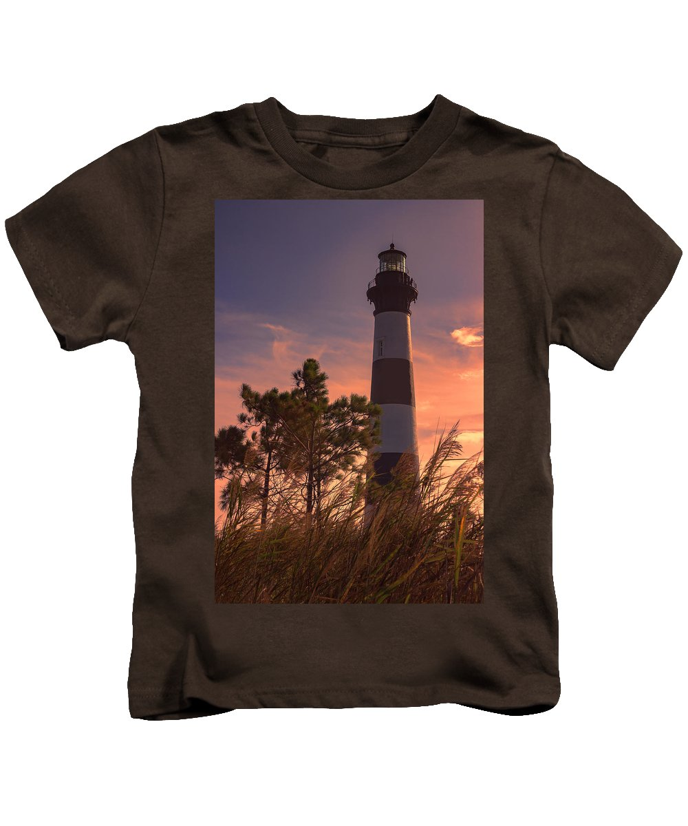 Bodie Island Lighthouse Kids T-Shirt featuring the photograph Bodie Island Lighthouse 1 by Judy Witter