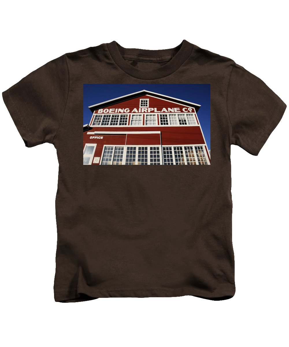Boeing Kids T-Shirt featuring the photograph Boeing Airplane Hanger Number One by David Lee Thompson