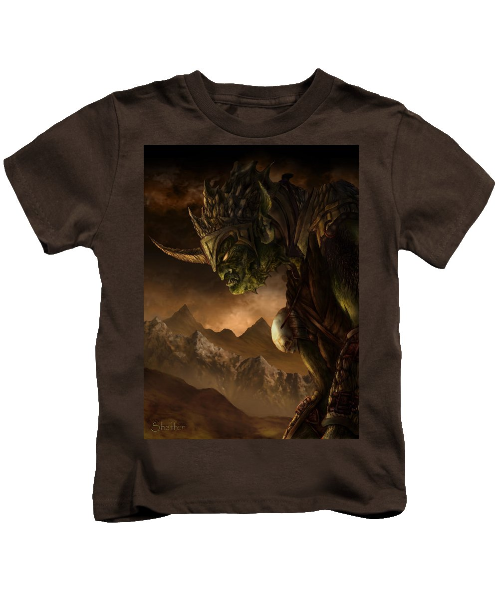 Goblin Kids T-Shirt featuring the mixed media Bolg The Goblin King by Curtiss Shaffer