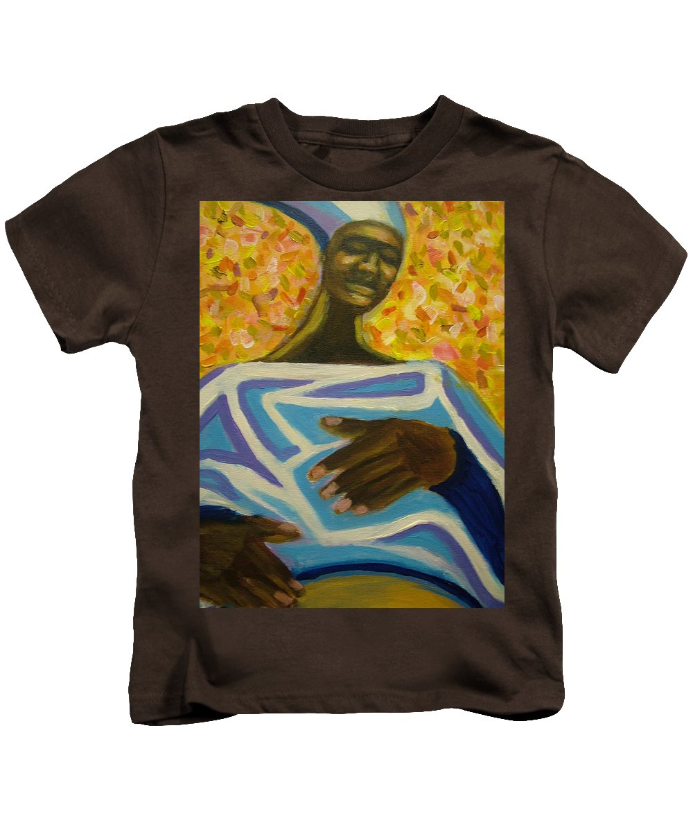 Painting Kids T-Shirt featuring the painting Bongo Man II by Jan Gilmore