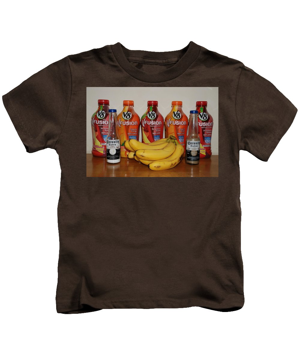 V8 Kids T-Shirt featuring the photograph Bottles N Bananas by Rob Hans
