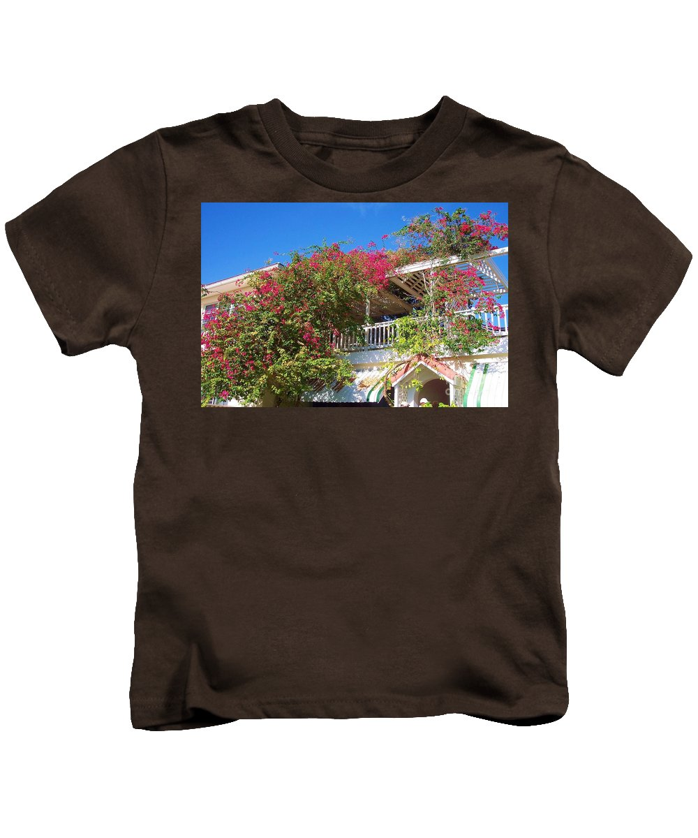 Flowers Kids T-Shirt featuring the photograph Bougainvillea Villa by Debbi Granruth