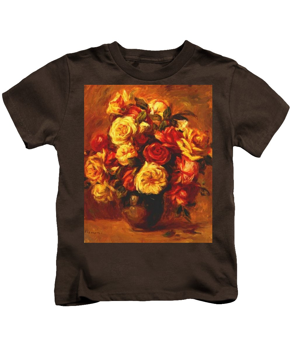 Bouquet Kids T-Shirt featuring the painting Bouquet Of Roses 1 by Renoir PierreAuguste