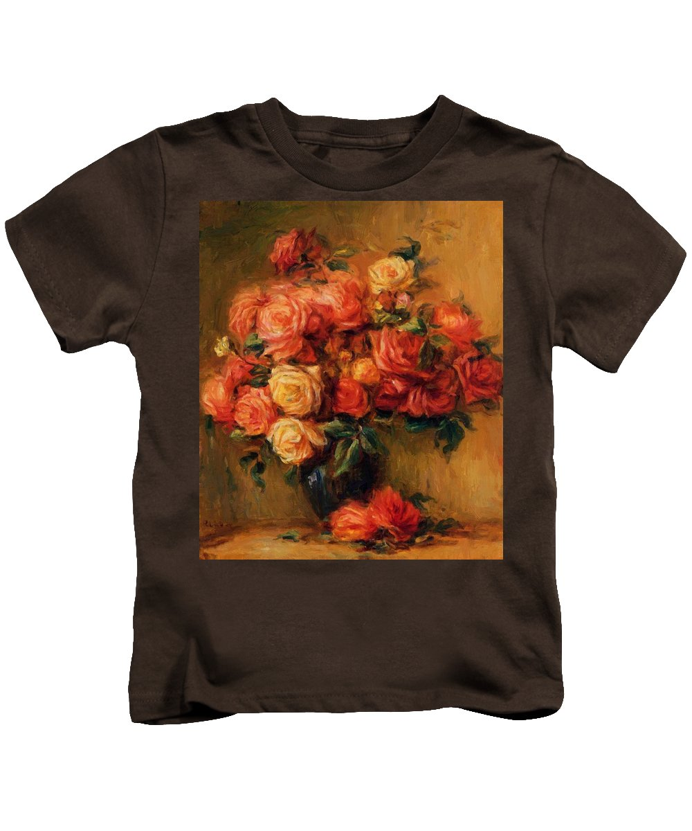 Bouquet Kids T-Shirt featuring the painting Bouquet Of Roses 1900 by Renoir PierreAuguste