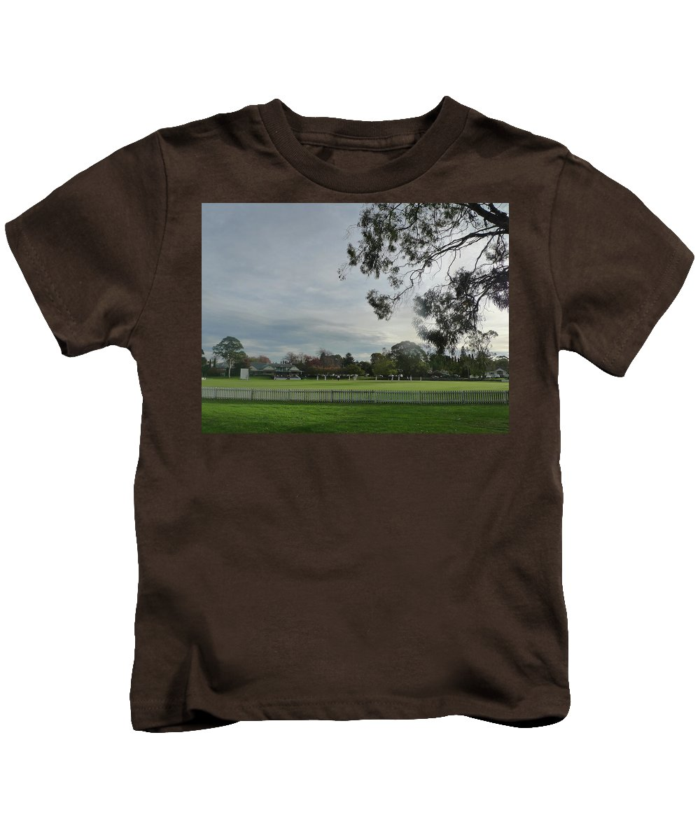 The Bradman Cricket Oval Kids T-Shirt featuring the photograph Bradman Oval Bowral by Shona Murray