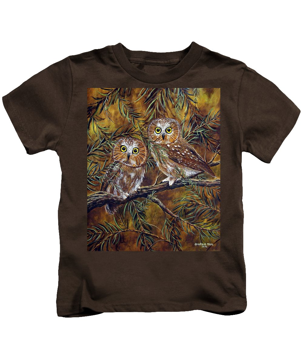 Owls Kids T-Shirt featuring the painting Branch Buddies by David G Paul