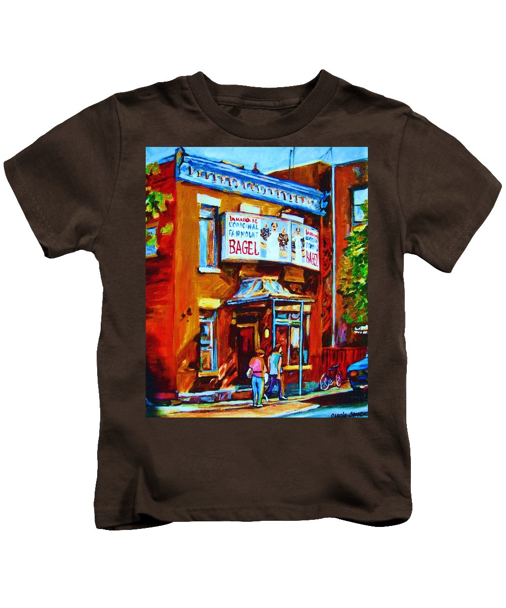 Fairmount Bagel Kids T-Shirt featuring the painting Breakfast At The Bagel Cafe by Carole Spandau