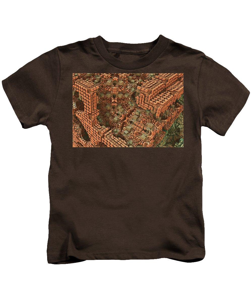 Mandelbulb Kids T-Shirt featuring the digital art Bricks And Mortar by Lyle Hatch