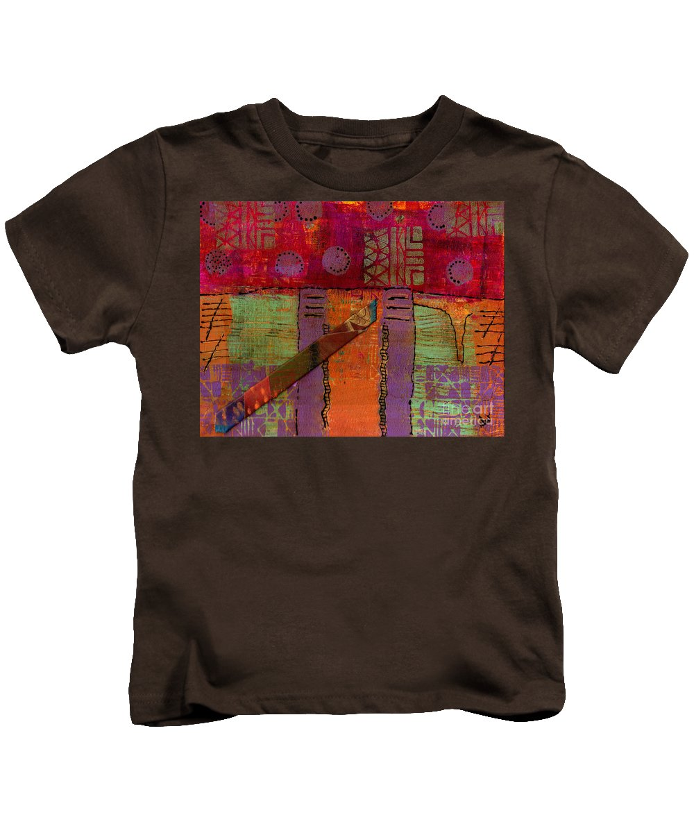 Vibrant Kids T-Shirt featuring the mixed media Bridging The Gap I by Angela L Walker