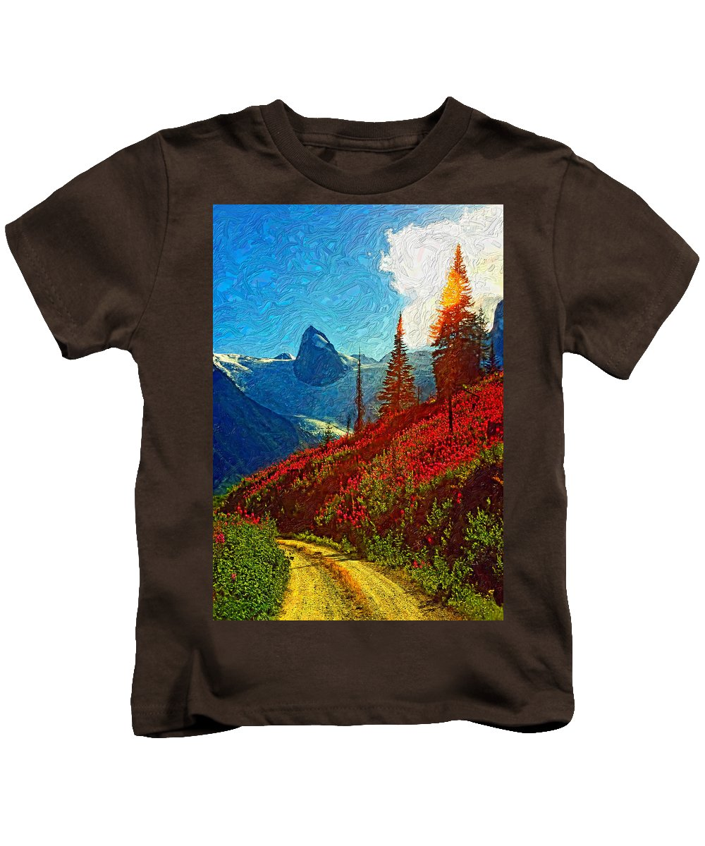 Mountains Kids T-Shirt featuring the photograph Bugaboos Evening Impasto by Steve Harrington