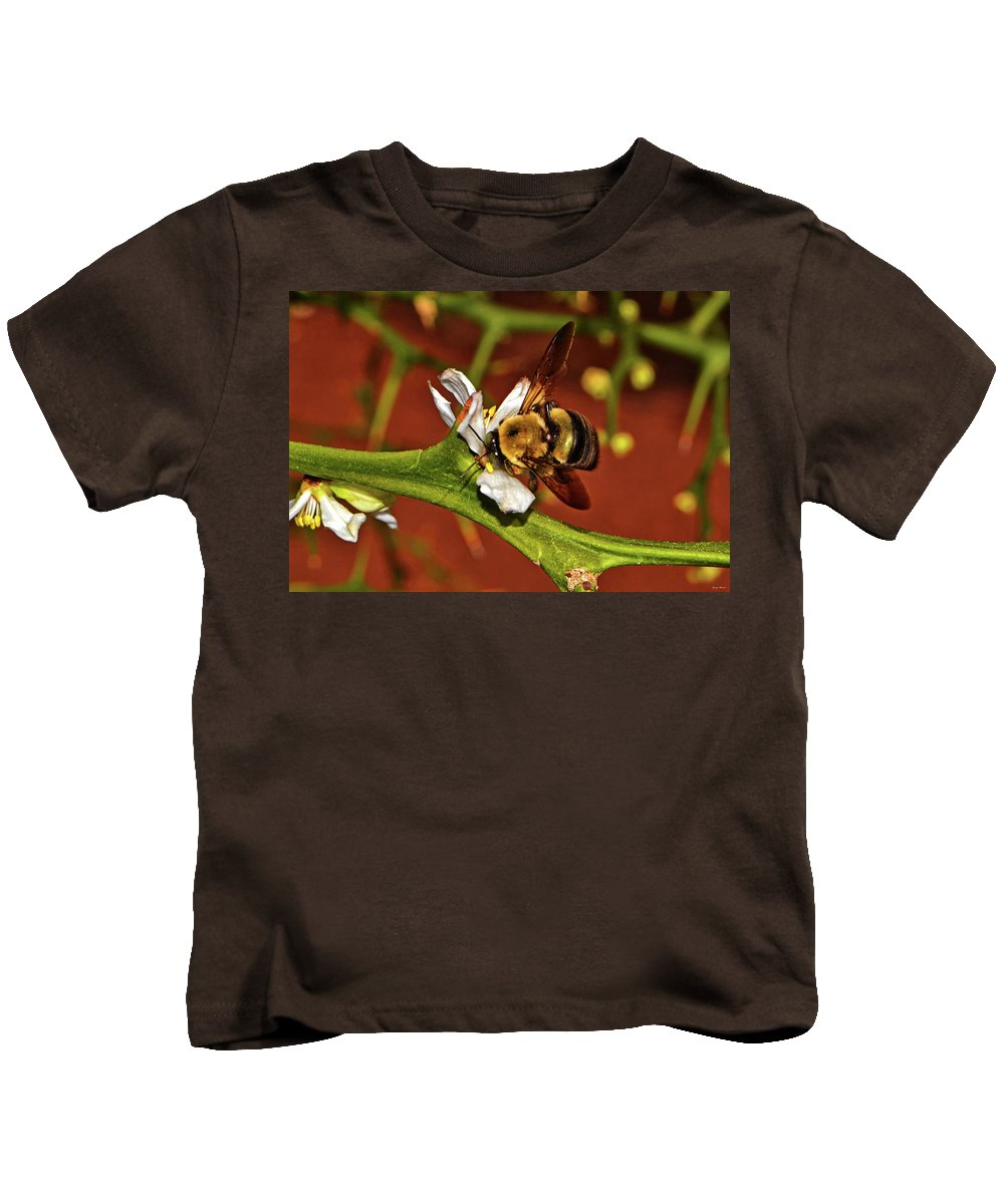 Bee Kids T-Shirt featuring the photograph Bumblebee On A Hardy Orange Blossom 002 by George Bostian