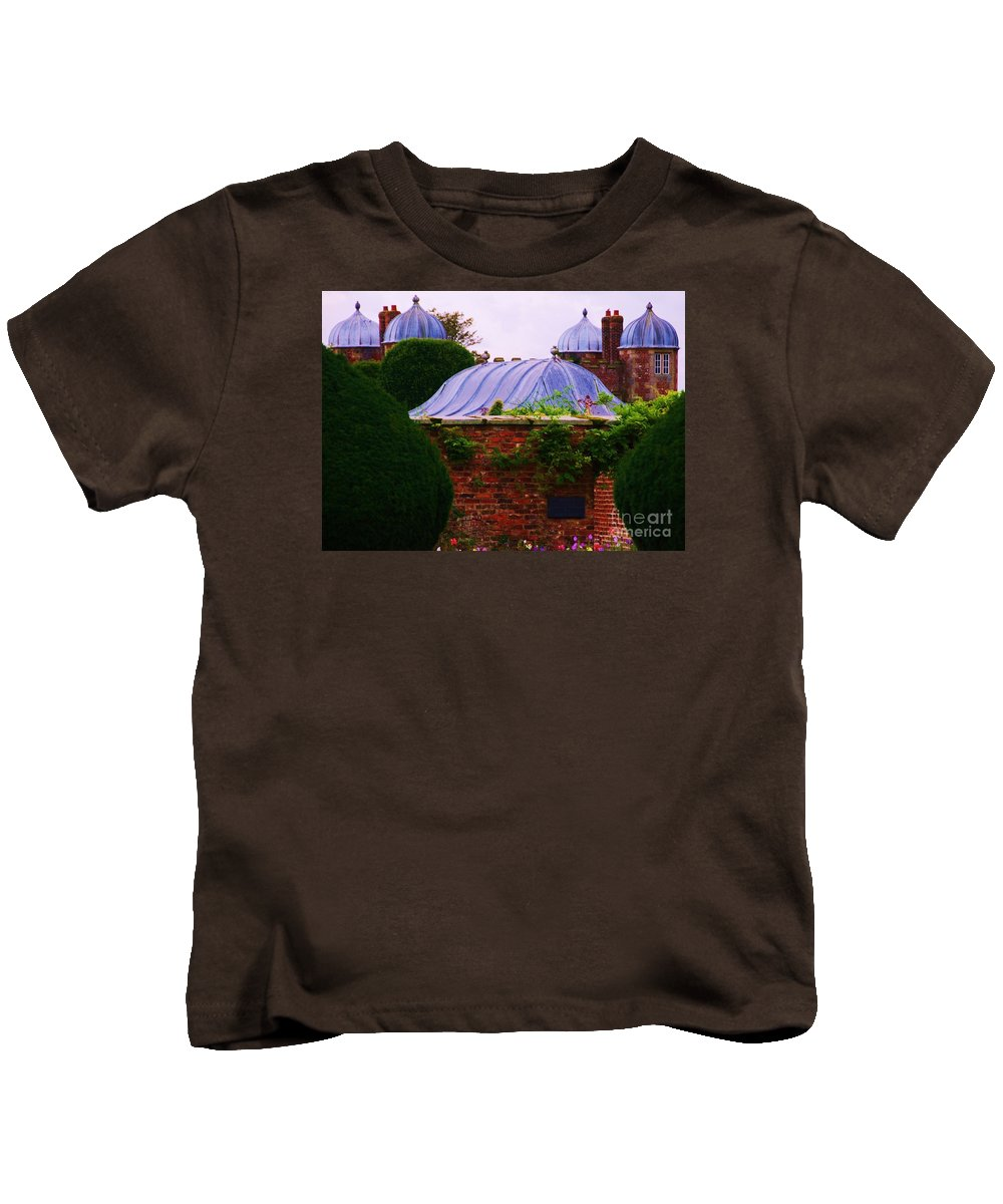 Burton Agnes Art Historic Home Yorkshire England Landmark Elizabethan Architecture Roof Stock Shot Historic Building Unique Design Greenery Outdoors Travel Tourism Canvas Print Recommended Metal Frame Wood Print Available On Phone Cases Pouches Shower Curtains Mugs Tote Bags And T Shirts Kids T-Shirt featuring the photograph Unique Roofs At Burton Agnes Hall, Yorkshire by Marcus Dagan
