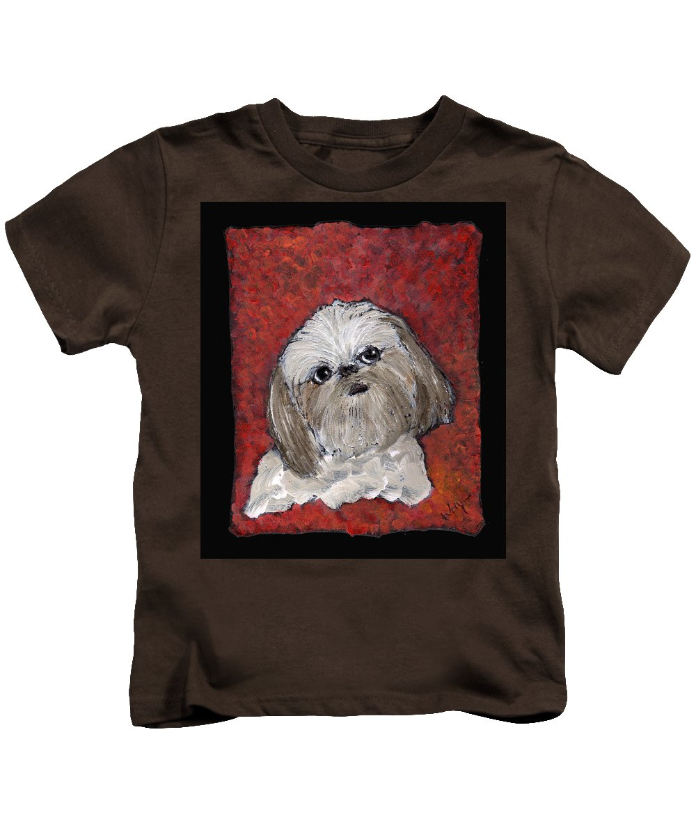 Dog Kids T-Shirt featuring the painting Buster by Wayne Potrafka