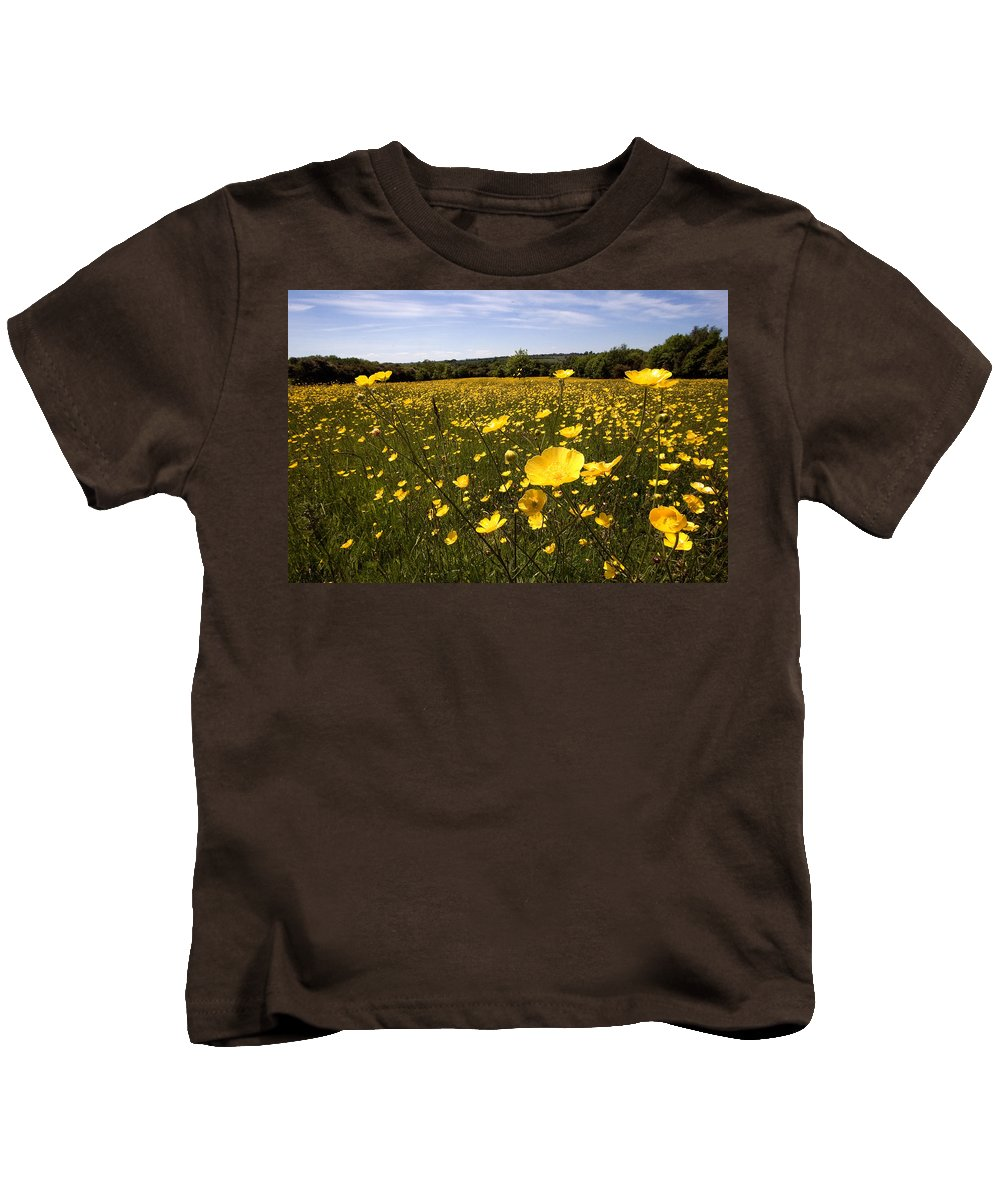 Buttercups Kids T-Shirt featuring the photograph Buttercup Field by Bob Kemp