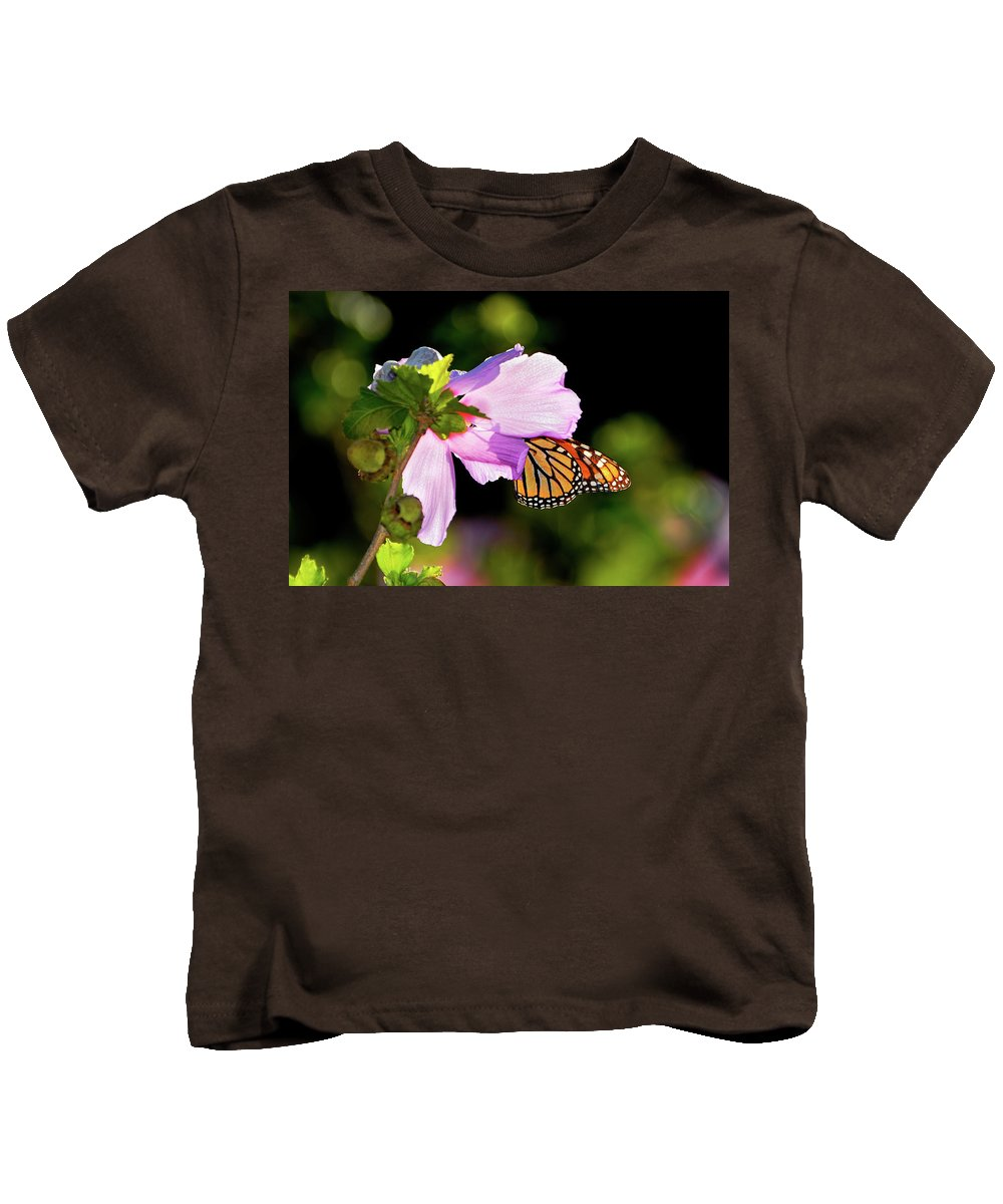 Monarch Butterfly Kids T-Shirt featuring the photograph Butterfly Sunset by Betty LaRue