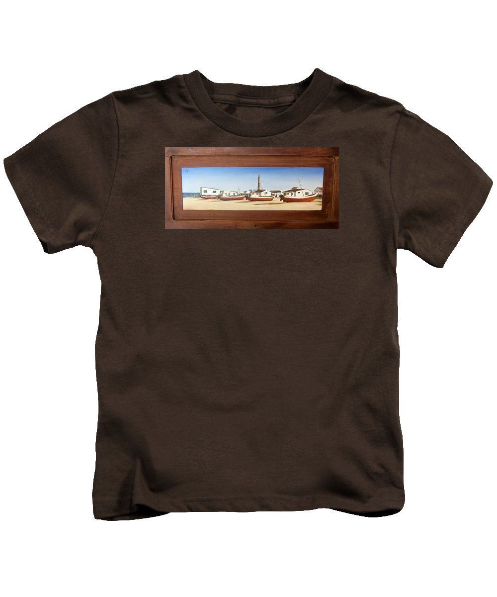 Landscape Seascape Uruguay Beach Boats Sea Lighthouse Kids T-Shirt featuring the painting Cabo Polonio 2 by Natalia Tejera