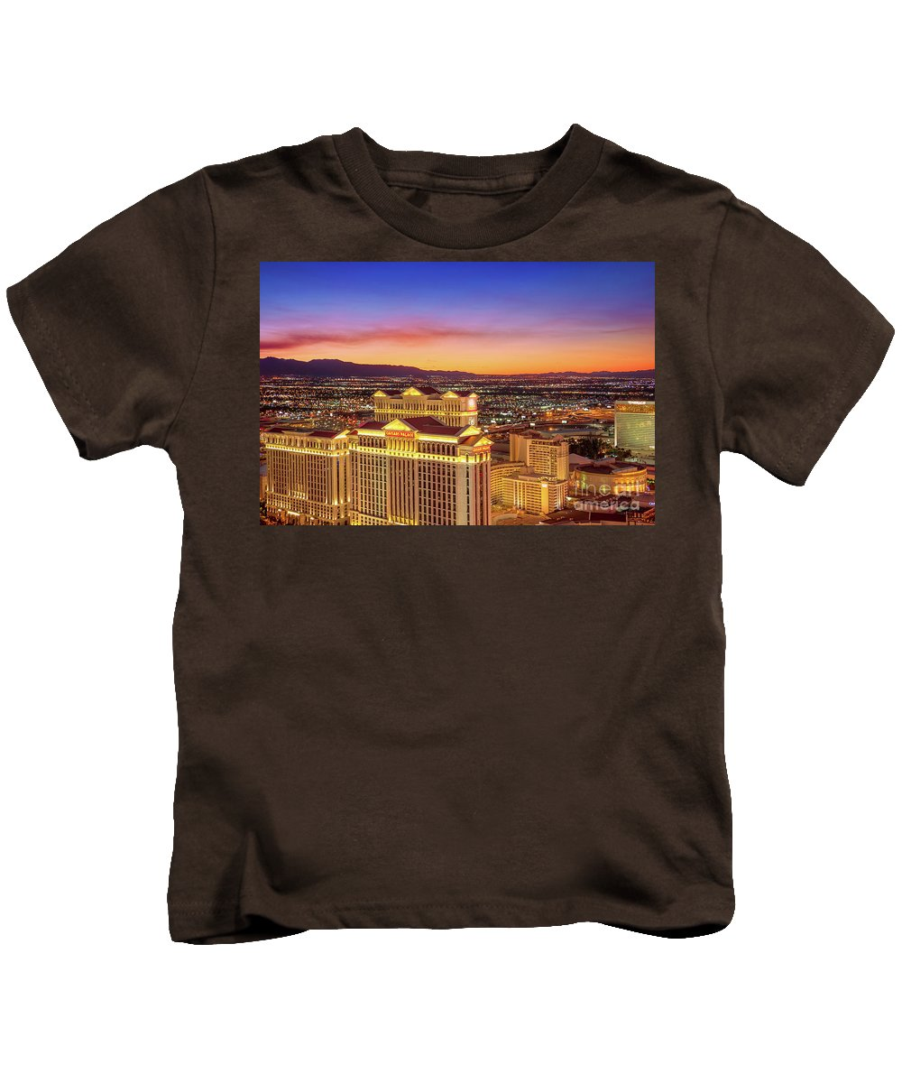 Caesars Palace Kids T-Shirt featuring the photograph Caesars Palace After Sunset by Aloha Art