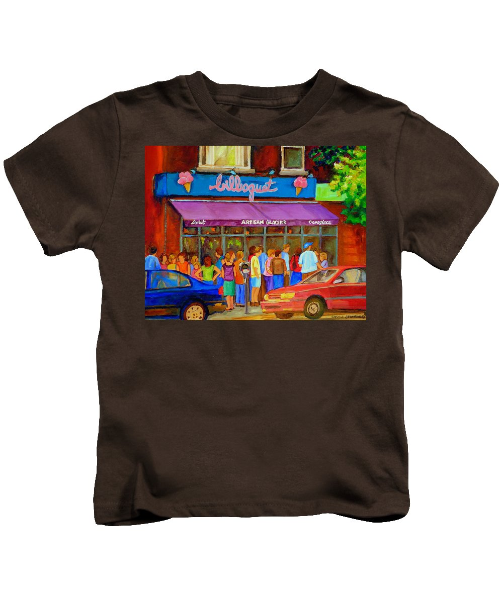 Cafe Bilboquet Kids T-Shirt featuring the painting Cafe Bilboquet Ice Cream Delight by Carole Spandau