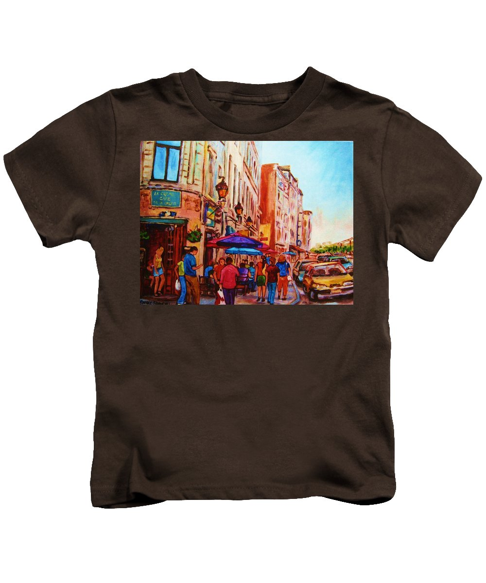 Montreal Kids T-Shirt featuring the painting Cafe Creme by Carole Spandau
