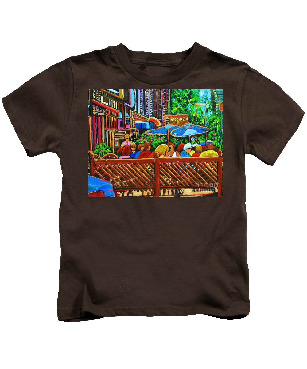 Cafes Kids T-Shirt featuring the painting Cafe Second Cup by Carole Spandau