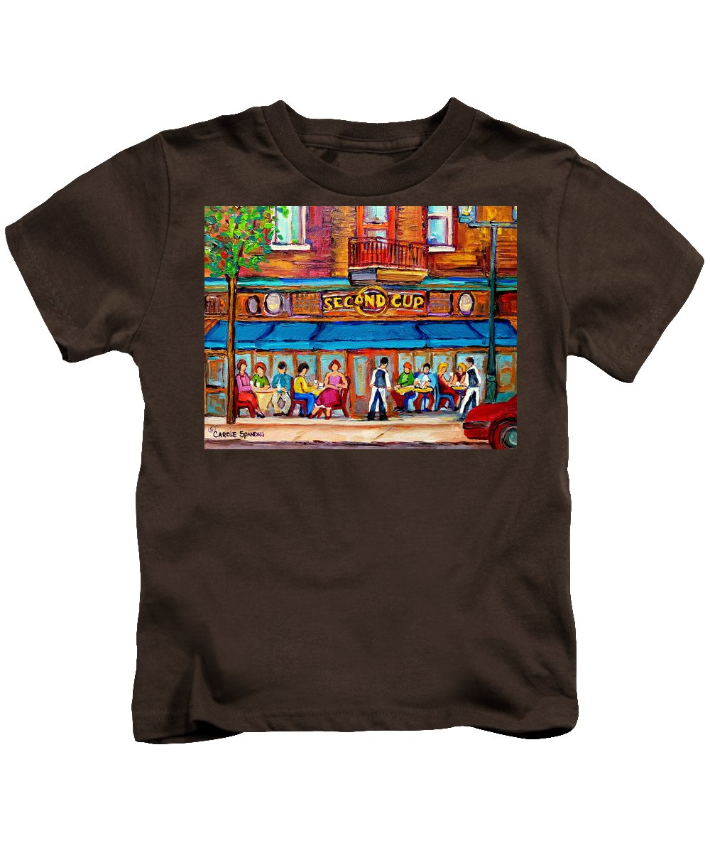 Cafe Second Cup Terrace Montreal Street Scenes Kids T-Shirt featuring the painting Cafe Second Cup Terrace by Carole Spandau