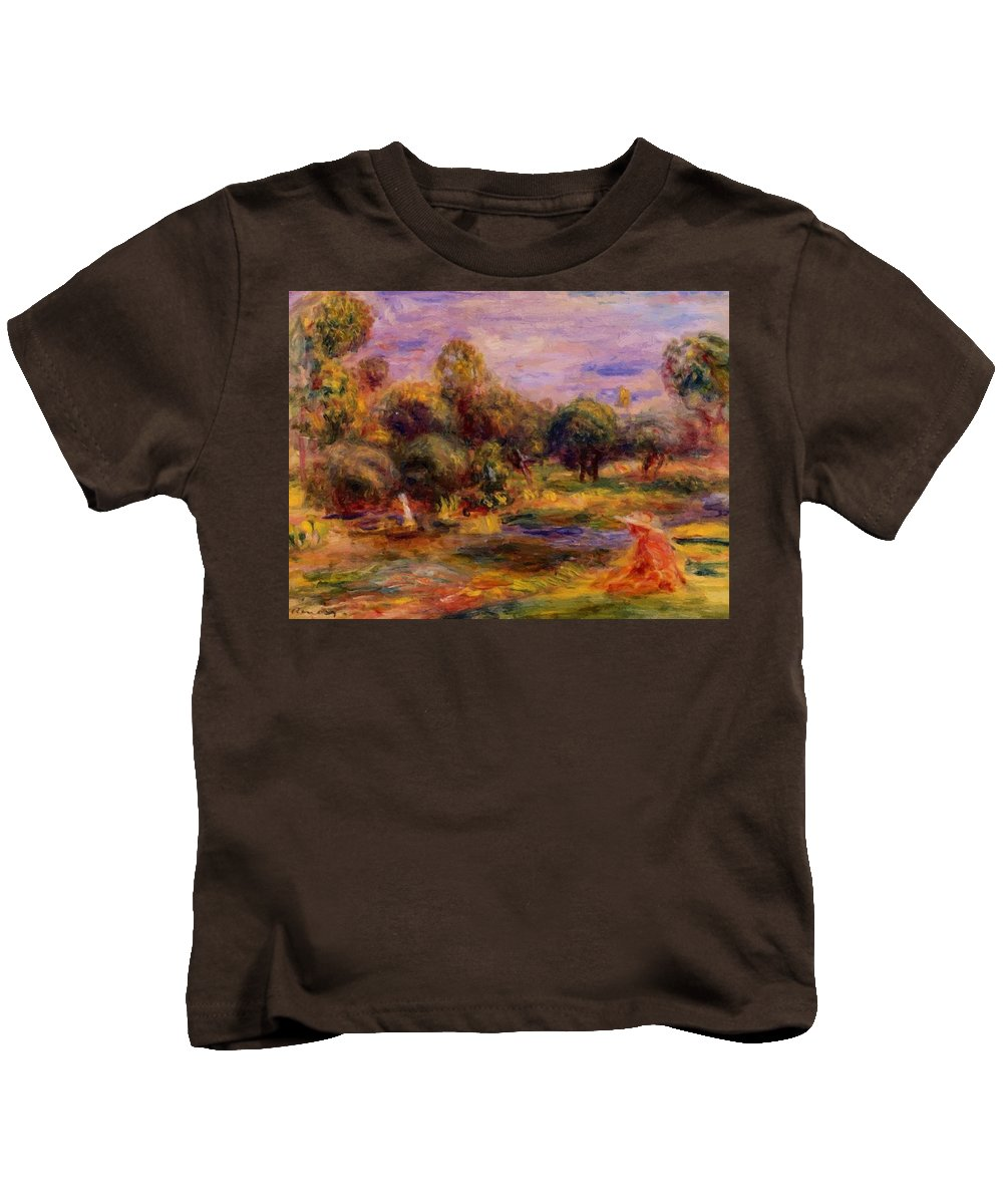 Cagnes Kids T-Shirt featuring the painting Cagnes Landscape 1908 by Renoir PierreAuguste