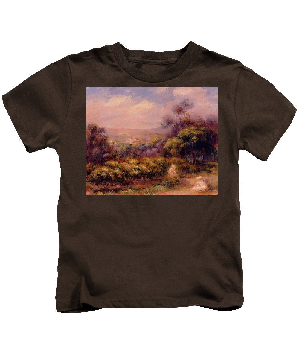 Cagnes Kids T-Shirt featuring the painting Cagnes Landscape 3 by Renoir PierreAuguste