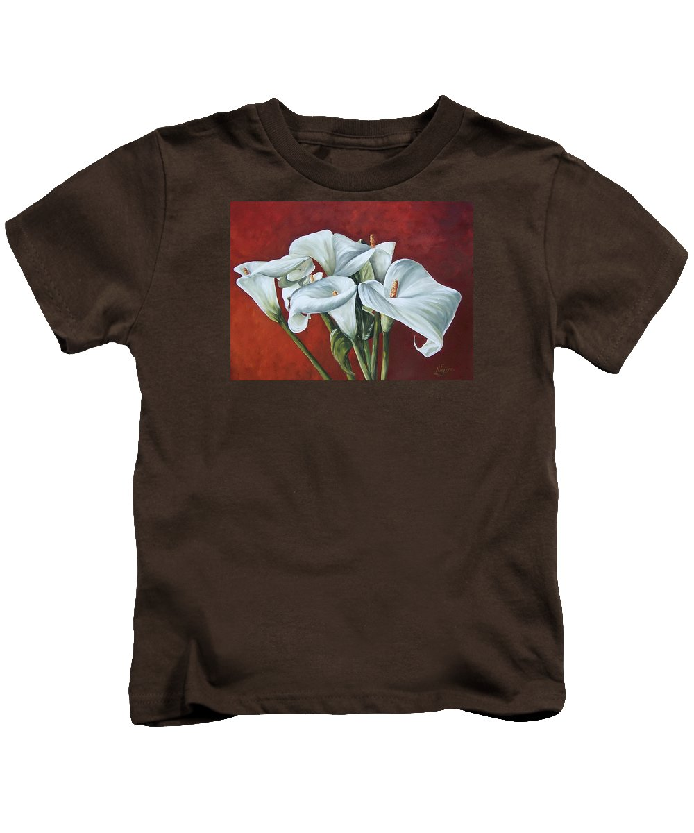 Calas Kids T-Shirt featuring the painting Calas by Natalia Tejera