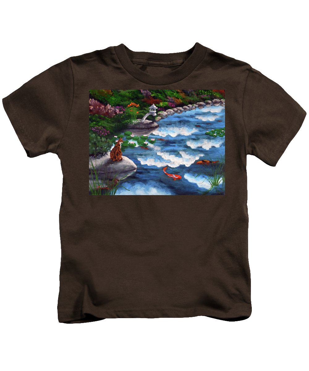 Calico Cat Kids T-Shirt featuring the painting Calico Cat At Koi Pond by Laura Iverson