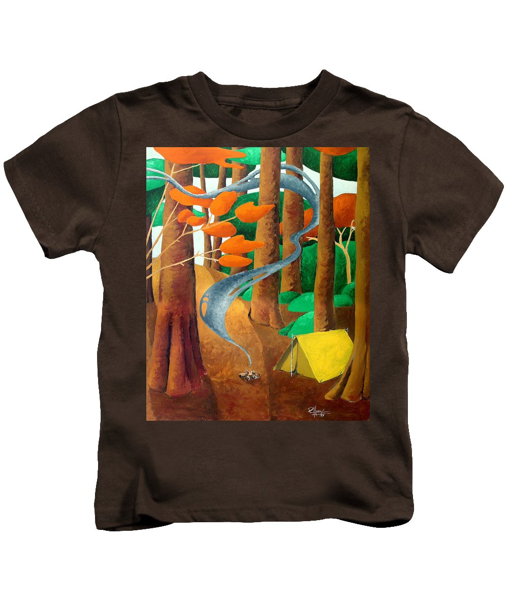 Landscape Kids T-Shirt featuring the painting Camping - Through The Forest Series by Richard Hoedl