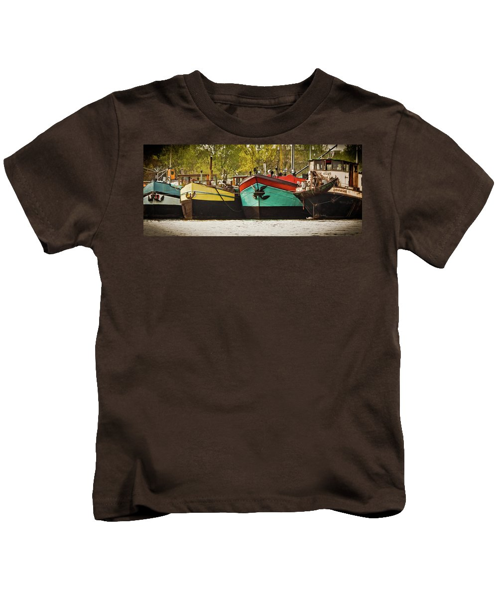Amsterdam Kids T-Shirt featuring the photograph Canal Boats by Jill Smith