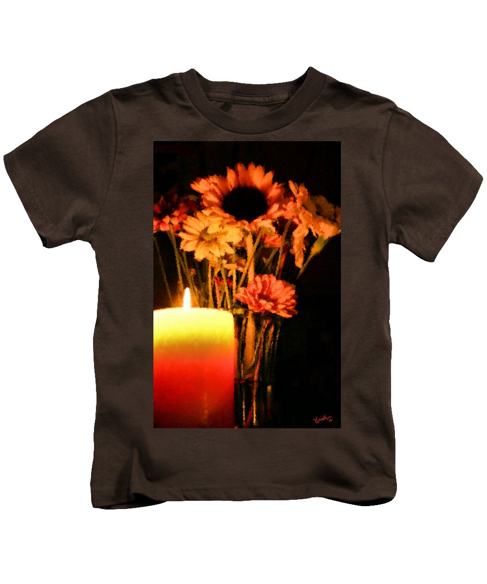 Candle Kids T-Shirt featuring the digital art Candle Lit by Kristin Elmquist