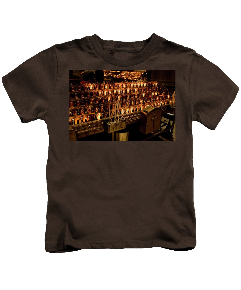 New York City Kids T-Shirt featuring the photograph Candle Offerings St. Patrick Cathedral by Lorraine Devon Wilke