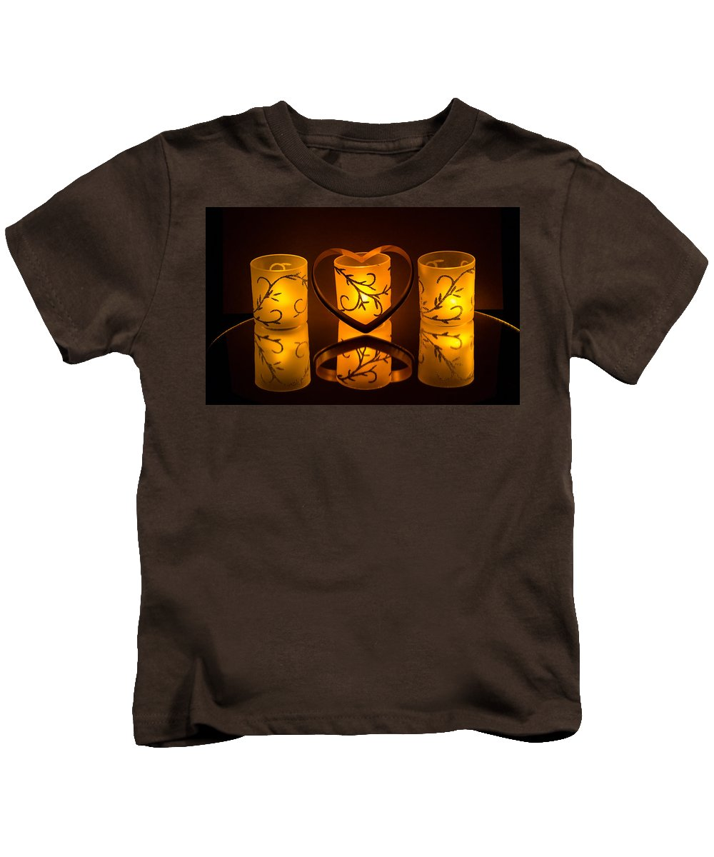 Valentines Day Kids T-Shirt featuring the photograph Candlelight Love by William Fredette-huffman
