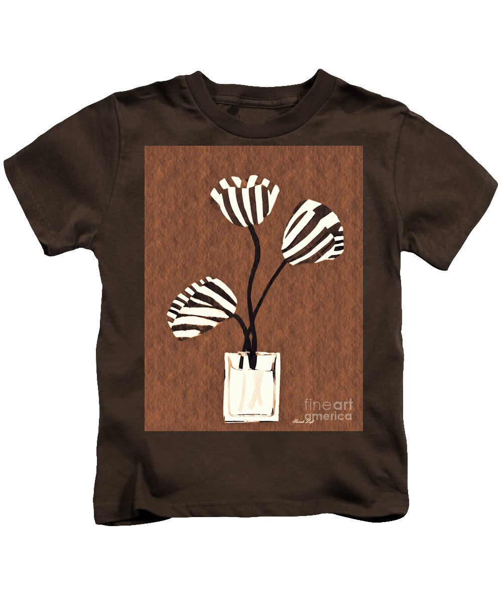 Tulip Kids T-Shirt featuring the mixed media Candy Stripe Tulips 3 by Sarah Loft