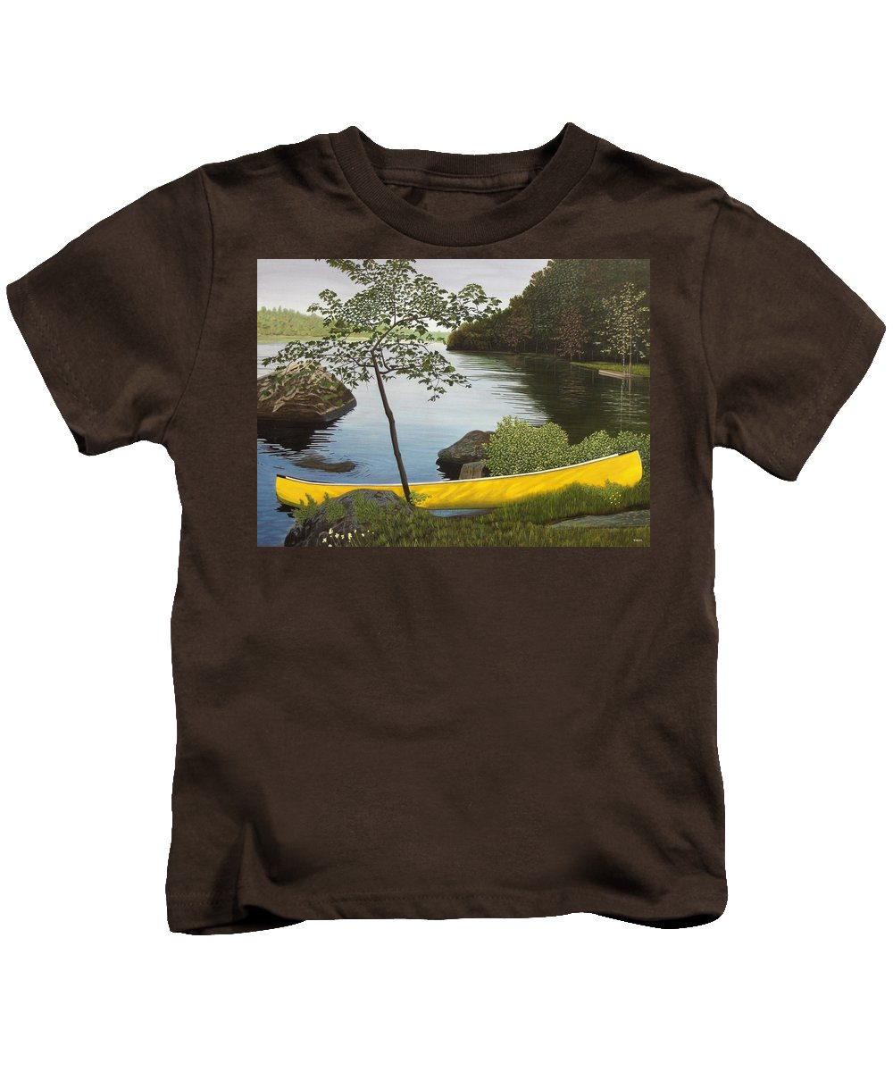 Landscapes Kids T-Shirt featuring the painting Canoe On The Bay by Kenneth M Kirsch