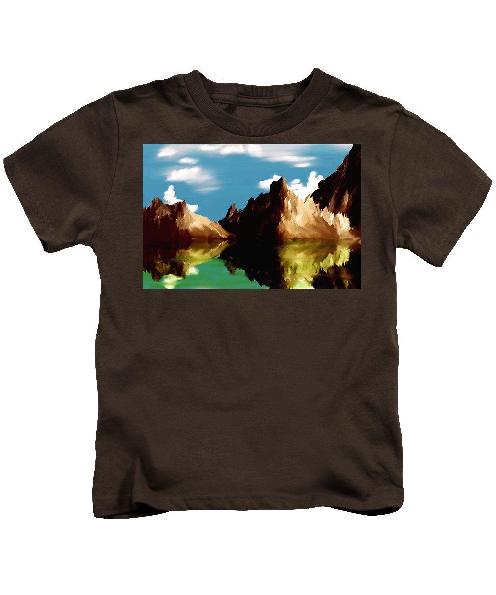 Digital Art Kids T-Shirt featuring the digital art Canyon Lake by David Lane