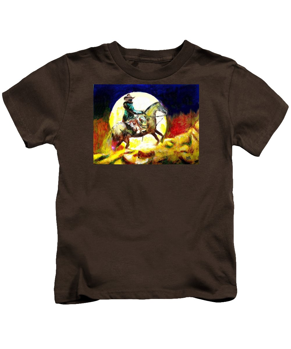 Canyon Moon Kids T-Shirt featuring the painting Canyon Moon by Seth Weaver